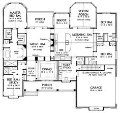 One story floor plan, study and guest bedroom, sunroom, family studio room.