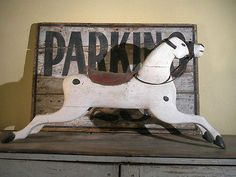 AAFA Early Primitive Folk Art Wooden Rocking Horse Antique Hobby Horse Old Paint