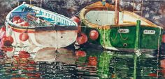 "boats mevagissey UK  20"" x 40""  micheal zarowsky watercolour on arches paper / private collection"