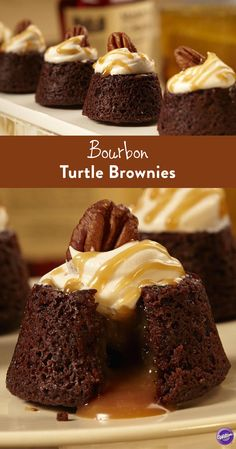 Bourbon Turtle Brownies Recipe - Make bourbon-flavored turtle brownies for Dad on Father's Day that will surely pack quite a punch of awesome! Top with caramel whipped topping and pecan and drizzle with caramel sauce. Homemade Fudge Brownies, Beste Brownies, Chewy Brownies, Köstliche Desserts, Delicious Desserts, Dessert Recipes, Delicious Dishes, Brownie Recipes, Cheesecake Recipes