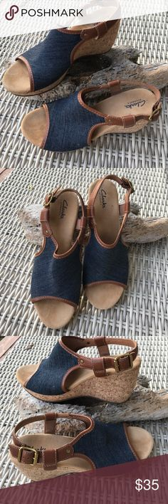 Clark Elements Wedges NWOT New Clark element wedges navy blue denim with cork sole. NWOT Clarks Shoes Wedges