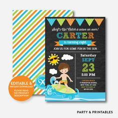 Surfer Boy Chalkb... http://partyandprintables.com/products/surfer-boy-chalkboard-kids-birthday-invitation-editable-instant-download-ckb-388?utm_campaign=social_autopilot&utm_source=pin&utm_medium=pin #partyprintables #birthdayinvitation #partysupplies #partydecor #kidsbirthday #babyshower