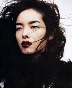 gorgeous windswept hair and deep burgundy lips
