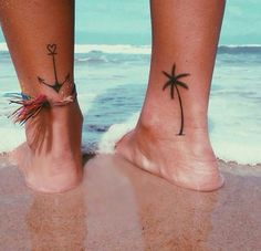 • tattoo • ankle • anchor • palm tree •