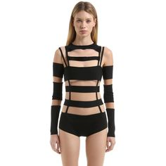 Balmain Women Cutout Tulle & Milano Jersey Bodysuit ($1,230) ❤ liked on Polyvore featuring intimates, shapewear and black