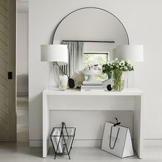 A contemporary statement piece, this beautiful mirror stands out in any room in your home. To get its beautiful finish, the steel is oiled and then burnt at What's more, there are no visible welding joins meaning it has a smooth and con Entrance Table, Entry Tables, Console Tables, Hallway Decorating, Entryway Decor, Entryway Ideas, Entrance Ideas, Modern Entrance, Hallway Ideas