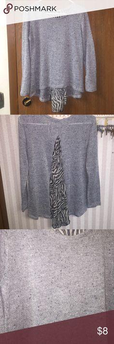 Sparkle Sweater with Zebra back Lightweight Grey Sweater with sheer zebra back, adorable with leggings. Sweaters