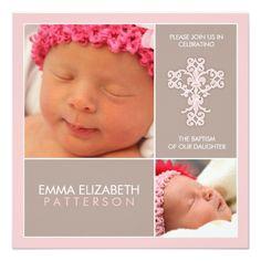 Sweet & Modern Baptism Baby Girl Invitation