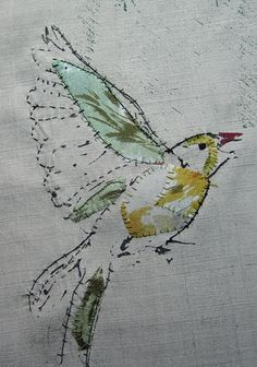 Just sparse stitching and a few scraps...birds for fan by pennyleavergreen, via Flickr