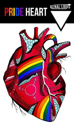 Pride Anatomical Heart Art Print: A unique anatomical heart art print collection for modern contemporary homes. Buy any of these beautiful human heart artworks. Worldwide shipping available. Just one of many creative art pieces by Kenal Louis. Lgbt T Shirts, Pride Shirts, Selling Art Online, Online Art, Wal Art, Heart Artwork, Cool Graphic Tees, Graphic Design, Rainbow Art