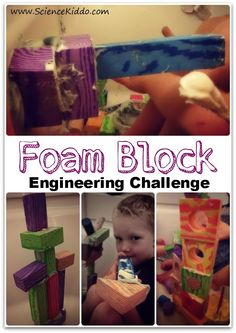 Foam Block Engineering Challenge. Awesome STEM Activity for Kids. ScienceKiddo.com