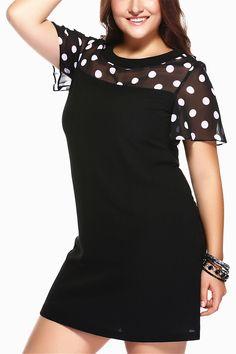 9198ca07292  21.55 Brief Plus Size Polka Dot Print Spliced Shift Dress For Women Polka  Dot Print