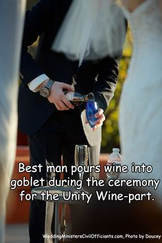 BEST MAN POURS WINE INTO GOBLET DURING THE CEREMONY FOR THE UNITY WINE-PART. #Officiants #Ceremony #BrideRide #WeddingPlanner #WeddingPlanning #EventPlanning #Bridal #WeddingDay #WeddingVenues #Engaged #WeddingSupplies #EngagedLife #JustSaidYes #Marriage #Love Wedding Venues, Wedding Day, Wedding Supplies, A Good Man, Unity, Event Planning, Wedding Planner, Marriage, Wine