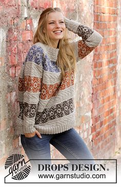 Valdres / DROPS - Free Knitting Patterns by DROPS Design : Knitted sweater with raglan in DROPS Karisma. The work is knitted from the bottom up with Norwegian pattern and textured pattern in stripes. Size S – XXXL. Sweater Knitting Patterns, Knitting Stitches, Knitting Designs, Knit Patterns, Free Knitting, Baby Knitting, Drops Design, Drops Karisma, Crochet Design