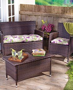 The Outdoor Chair Cushion adds a pop of color to your patio or porch furniture. This comfortable cushion also provides extra padding and support. It features a