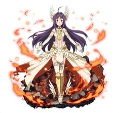 1girl ahoge bracelet elbow_gloves fingerless_gloves fire floating_hair full_body gloves hair_ornament jewelry long_hair looking_at_viewer midriff navel purple_hair red_eyes simple_background smile solo standing stomach sword_art_online thigh-highs very_long_hair white_background white_gloves white_legwear yuuki_(sao)
