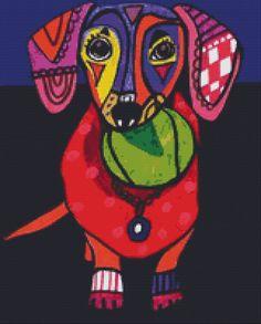 Modern Cross Stitch Kit 'Dachshund' By Heather by GeckoRouge, $80.00