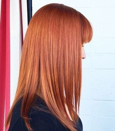 red hairstyle with bangs for straight hair
