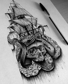 World of tattoos Octopus Tattoos, Skull Tattoos, Body Art Tattoos, Hand Tattoos, Sleeve Tattoos, Cool Tattoos, Backpiece Tattoo, Sea Tattoo, Kracken Tattoo