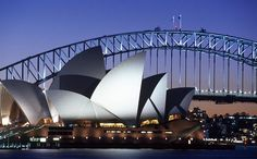 Sydney, Australia's iconic Opera House and Harbour Bridge.
