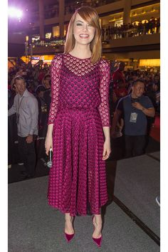 Emma Stone in a Christian Dior dress
