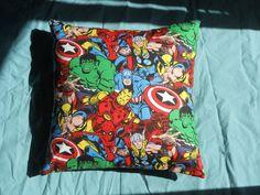 "Marvel Superheroes Throw Pillow - 14"" x 14"". $30.00, via Etsy."