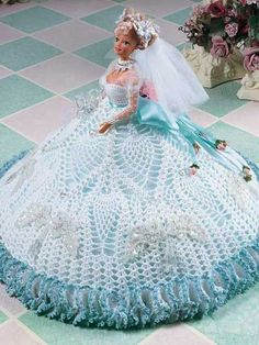Crochet - Doll Patterns - Doll Clothes Patterns - White Pineapple Fashion Doll Gown  $2.49
