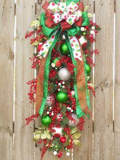 Christmas Wreath Polka Dot Red Green White Silver Christmas Swag Door Wreath