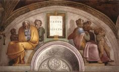 A moldura de Jacó e José veio com frescos de Michelangelo buonarroti em 1508 aproximadamente e faz parte da decoração da parede de fundo da Capela Sistina nos museus do Vaticano em Roma. Foi realizada no âmbito dos trabalhos à decoração da vez, encomendado por Júlio II.