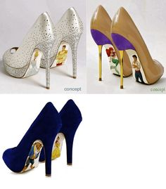 heels with disney couples handpainted on the sole! so cute!!