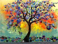Olive Tree Mural | Designer Glass Mosaics | Designer Glass Mosaics