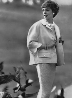 1956 Kathy Dennis in Stroock wool fleece jacket with white satin lining by Brittany