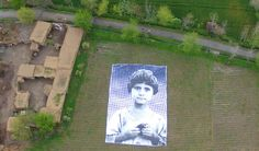 A giant poster of a drone strike survivor in Afghanistan looks up at drones. Drones, Inside Out Project, Pakistan Art, Portraits, French Artists, Street Artists, Predator, Installation Art, American