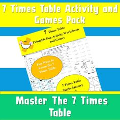 Times Table Activity Book Pack/ 7 Times Tables/Answers Included /Instant Downlaod/ Multiplication Jigsaw/Worksheets For Children/ AND 2 Maths Paper, Paper Games, Printable Math Games, Printable Worksheets, Snakes And Ladders Printable, Times Tables Worksheets, Teaching Multiplication, Activity Sheets, Book Activities