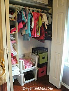 Simple closet solutions for a little girl's small closet. Simply Organized of NWA: Lucy's room