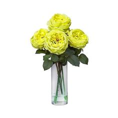 Nearly Natural Fancy Rose /Cylinder Vase Silk Flower Arrangement,... ($39) ❤ liked on Polyvore featuring home, home decor, floral decor, yellow, flower bouquets, blossom tree, silk flower bouquets, yellow silk flowers and yellow flower tree