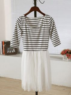 White Round Neck Half Sleeve Striped Pleated Mesh Yoke Dress US$26.22