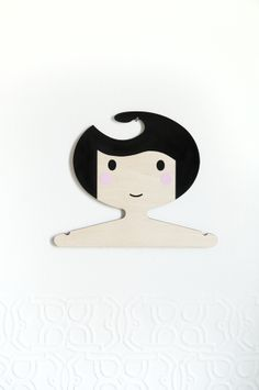 Black and white children's plywood clothes hanger  - pink cheeks