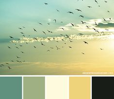 For me, keep the black, yellow and teal, then substitute taupe and white for the green and ivory...Color Palette // Beautiful Sky