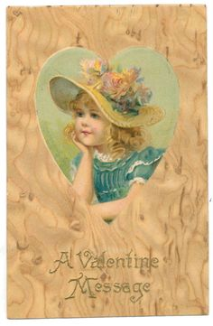 Winsch Valentine - Girl with Flowery Hat in Heart Shape