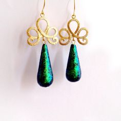 Fabulous Peacock Turquoise Blue Glowing Glossy Teardrops Vintage Style... ($33) ❤ liked on Polyvore featuring jewelry and earrings