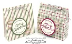 Pootles Advent Countdown 2018 Festive Farmhouse Gift Bag Tutorial I just LOVE the look of these bags! Simple, striking, and perfect for treats and goodies inside. I'm really down to my la… Treat Bags, Gift Bags, Christmas Fun, Christmas Cards, Christmas Boxes, Envelope Punch Board, Santas Workshop, Treat Holder, Fall Cards