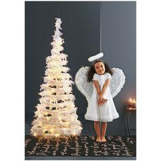 Beleuchteter Federtannenbaum - Kunststoff, Echte Federn, Weiß