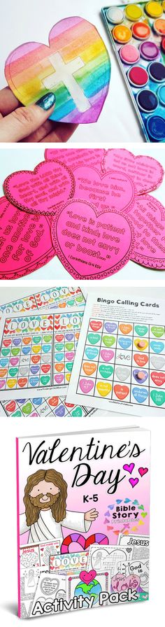 Love, Love, LOVE this set!!  Her Holiday Sets are AMAZING!!!  Jesus Loves Me Valentine's Day Activity Pack.  Bible based printables, activities, crafts, games and more for K-5.  There is a Christmas & Easter Bible Pack too:  https://www.teacherspayteachers.com/Product/Jesus-Loves-You-Valentines-Day-Activity-Pack-2939621