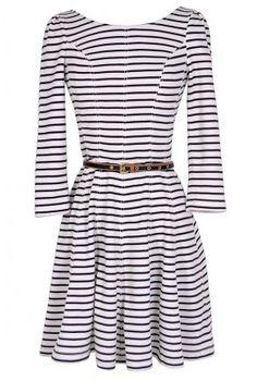 LOVE....Ships Ahoy Belted Stripe Designer Dress