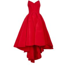 Zac Posen Silk Faille Strapless Dress ($5,220) ❤ liked on Polyvore featuring dresses, gowns, vestidos, zac posen, red gown, hi low dress, red silk gown, red ball gown and red strapless gown