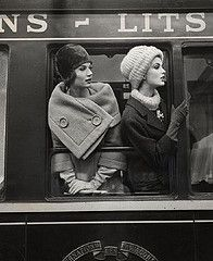 50's style winter style. Hats. Wool Coats. Long gloves. Train station. Classic.