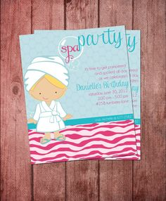 Girls Spa Party Invitation 4 x 5 DIY by KalaniDesignsStudio Spa Party Invitations, Birthday Party Invitation Wording, Printable Invitations, Printables, Kids Pamper Party, Girl Spa Party, Spa Birthday Parties, Party Time, Jamberry