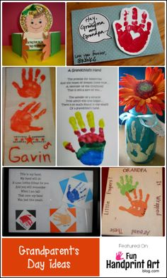 Here are some fabulous ideas for Grandparent's Day using handprints.