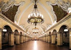 a heritage of the socialist regime, Moscow subway stations were meant as palaces for the people